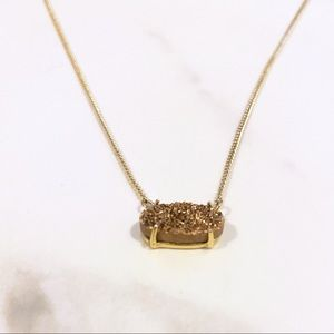Pink Druzy Stone Necklace on Gold Chain